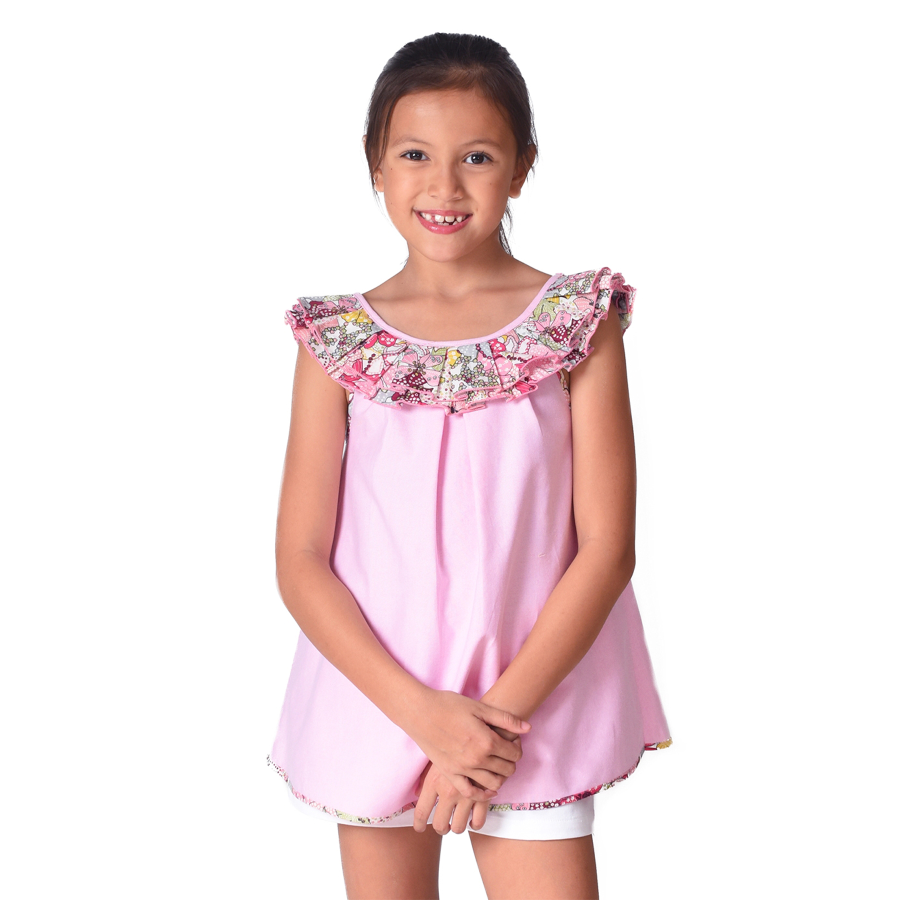 Blouse sans manches en coton rose pastel avec col bateau à volants liberty rose et rouge pour filles de 2 à 12 ans
