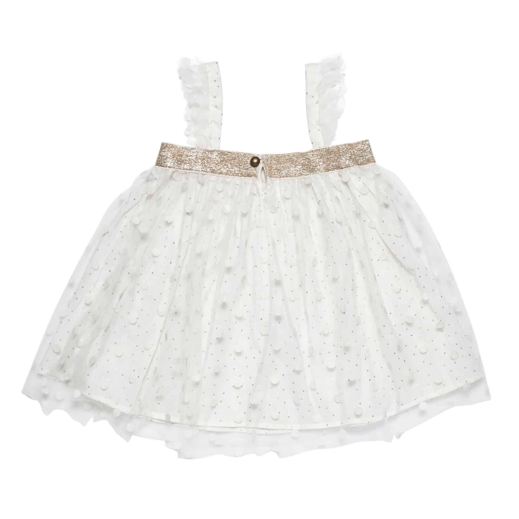 Blouse de cérémonie en tulle blanche et or avec col carré et manches à volants en tulle pour petites filles de 2 à 14 ans