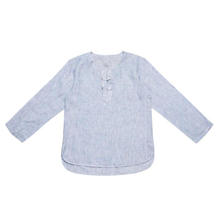 Ensemble cadeau garçon chemise rayée bleu ciel et blanc et pantalon de costume en lin bleu pour garçons de 2 à 14 ans