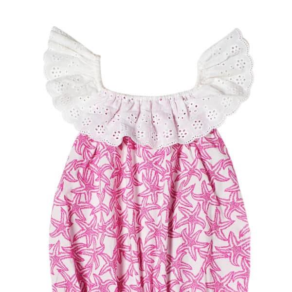Combishort d'été en coton blanc imprimé étoiles de mer rose fuchsia avec col 2-en-1 en broderie anglaise blanche et poches bordées pompons pour filles de 2 à 14 ans