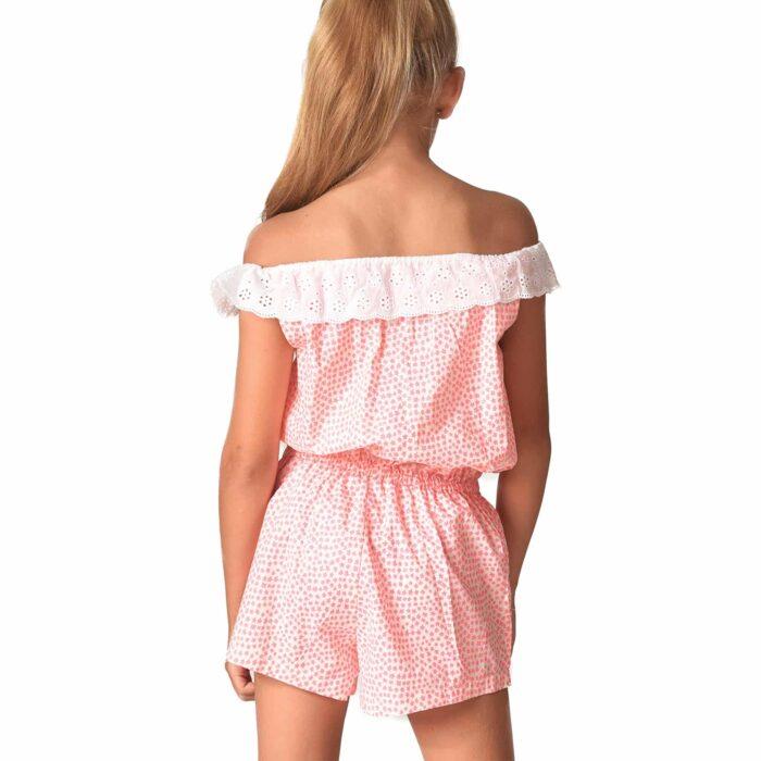 Combishort d'été en coton blanc à étoiles rose abricot avec col 2-en-1 en broderie anglaise blanche et poches bordées pompons pour filles de 2 à 14 ans
