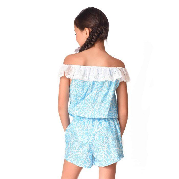 Combishort d'été en coton bleu imprimé corail blanc avec col 2-en-1 en broderie anglaise blanche et poches bordées pompons pour filles de 2 à 14 ans
