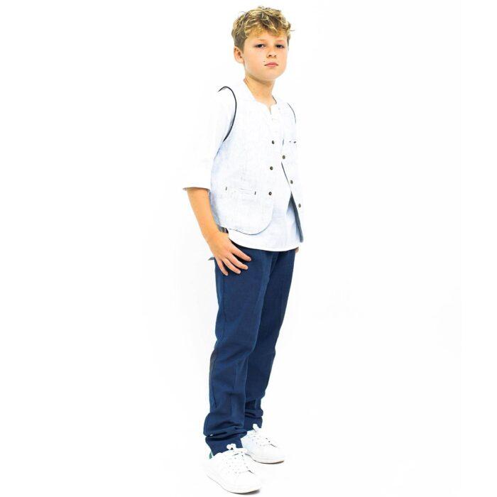 Ensemble cadeau garçon gilet habillé sans manches rayé bleu et blanc et pantalon de costume en lin bleu pour garçons de 2 à 14 ans