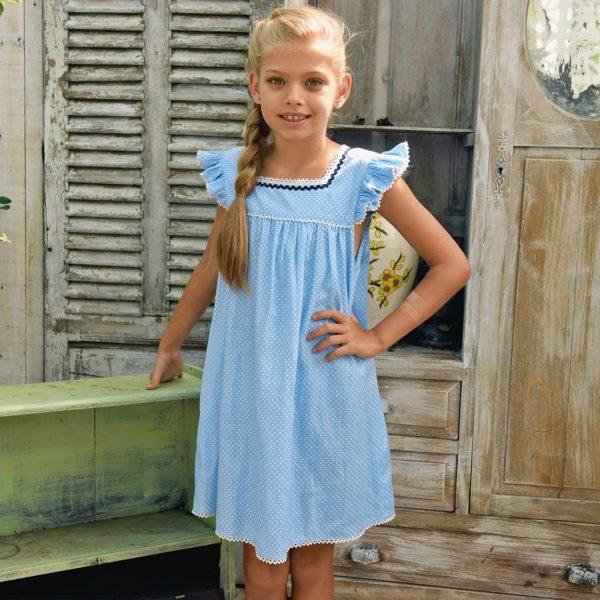robe ample bleu ciel été fille à pois blancs, manches courtes à volants bordées de dentelle de la marque de mode pour enfant en commerce équitable LA FAUTE A VOLTAIRE