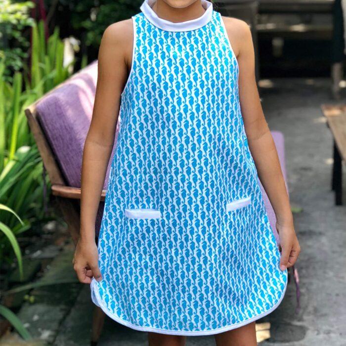 Robe trapèze été en coton bleu turquoise imprimé hippocampes blancs avec poches pour filles de 2 à 14 ans