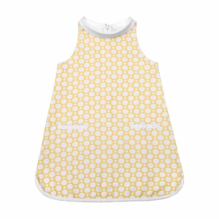 Robe trapèze été en coton graphique jaune et blanc avec poches pour filles de 2 à 14 ans
