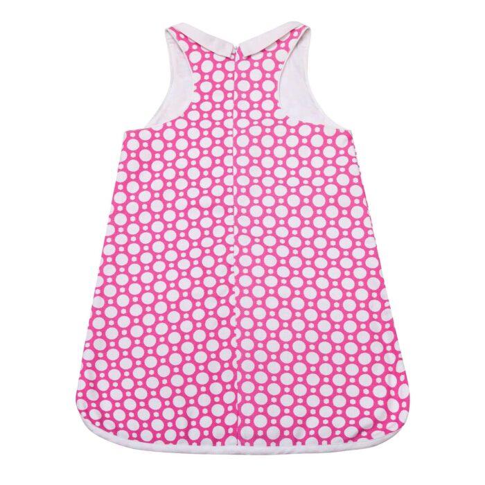 Robe trapèze été en coton graphique rose fuchsia et blanc avec poches pour filles de 2 à 14 ans