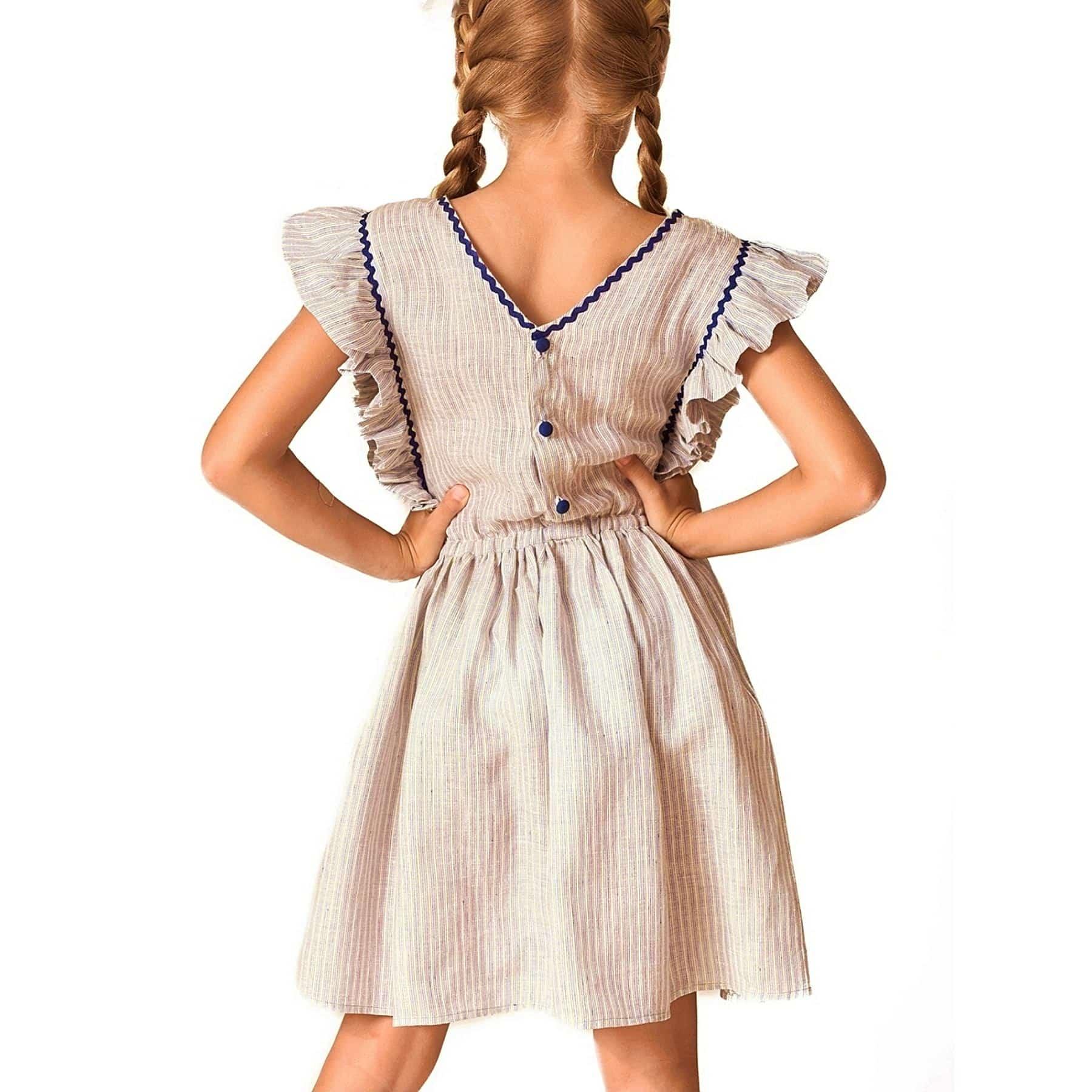 robe été fille col V dans la nuque avec manches courtes à volant