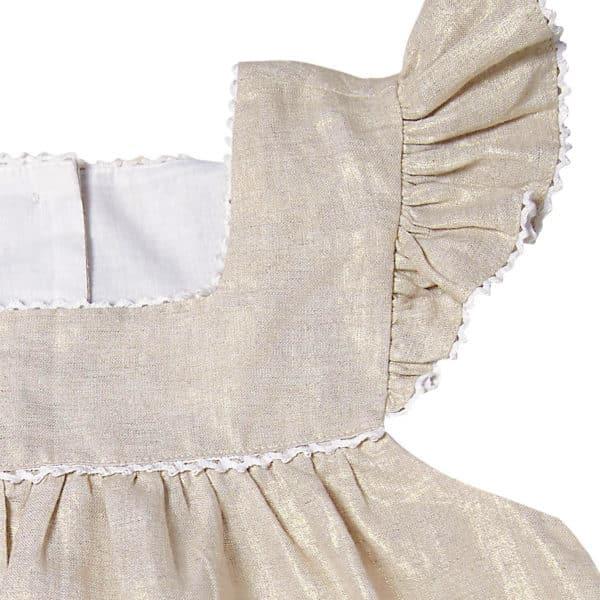 Robe ample en lin beige doré avec col carré et manches à volants pour filles de 2 à 12 ans
