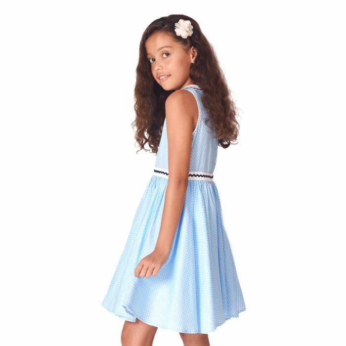 Robe qui tourne en coton bleu ciel à pois blancs avec col claudine pour filles de 2 à 14 ans