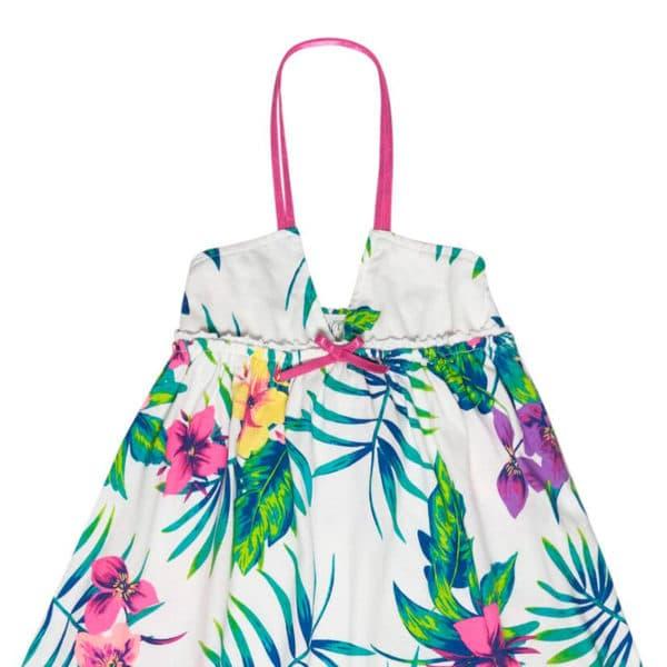 Robe longue été en coton blanc avec imprimés floraux hawaïens pour filles de 2 à 12 ans