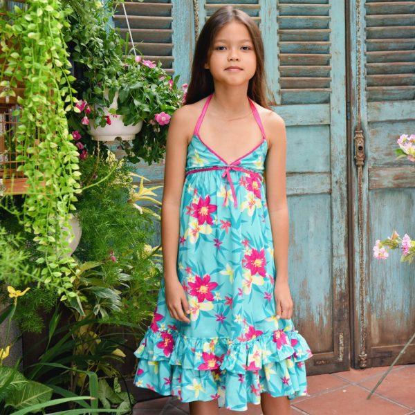 Robe longue en coton bleu turquoise et à l'imprimé fleuri hawaïen rose pour filles de 2 à 14 ans