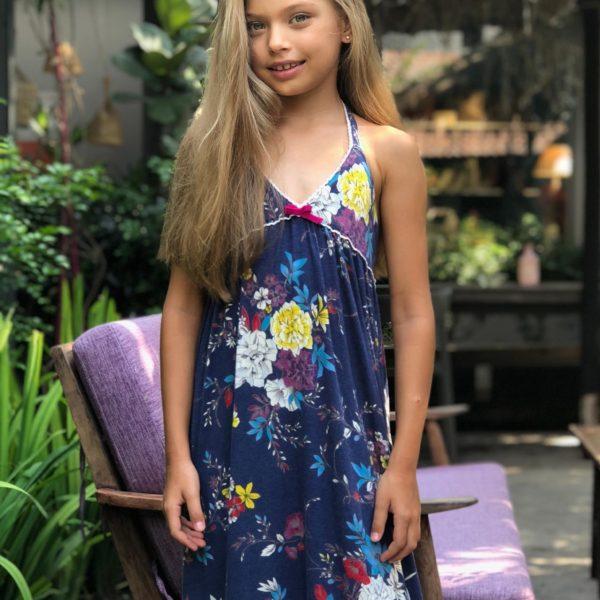 Robe d'été longue à bretelles en coton bleu marine imprimé fleuri rouge, violet, violet et blanc pour filles de 2 à 14 ans