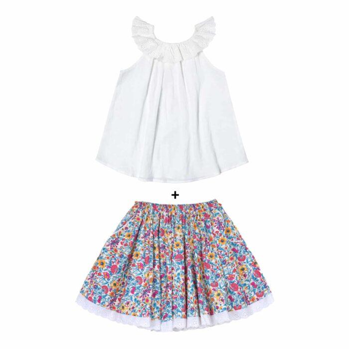 Ensemble cadeau fille blouse blanche col bardot en broderie anglaise et jupe en coton fleuri liberty bleu pour filles de 2 à 14 ans