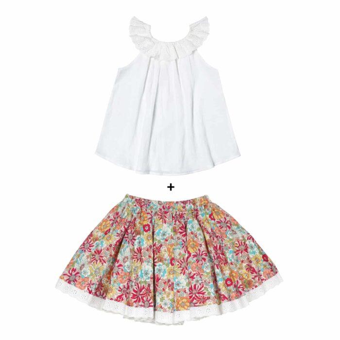 Ensemble cadeau fille blouse blanche col bardot en broderie anglaise et jupe en coton fleuri liberty rouge pour filles de 2 à 14 ans
