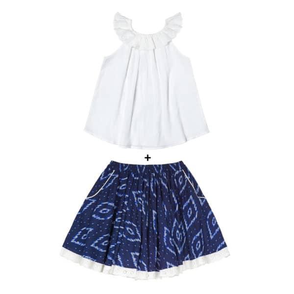 Ensemble cadeau fille blouse blanche col bardot en broderie anglaise et jupe en coton tie and dye bleu marine et blanc pour filles de 2 à 14 ans