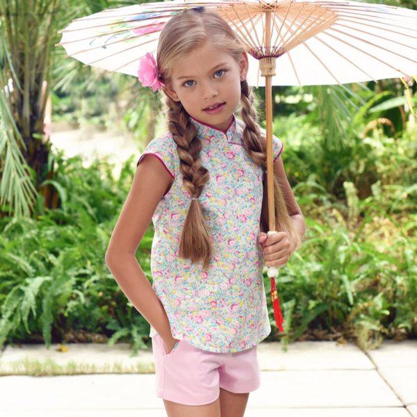 Blouse chinoise été en coton liberty rose et bleu pâle avec Col Mao et manches courtes pour filles de 2 à 14 ans