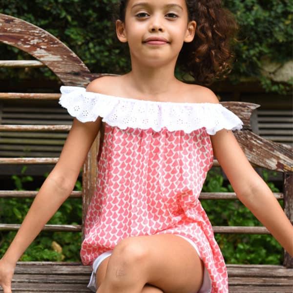 Blouse été en coton graphique orange et blanc avec col bardot en broderie blanche pour filles de 2 à 14 ans