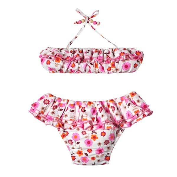 Maillot de bain deux pièces été fille en coton blanc fleuri rose et orange avec bandeau élastique et culotte taille basse à volants pour filles de 2 à 12 ans