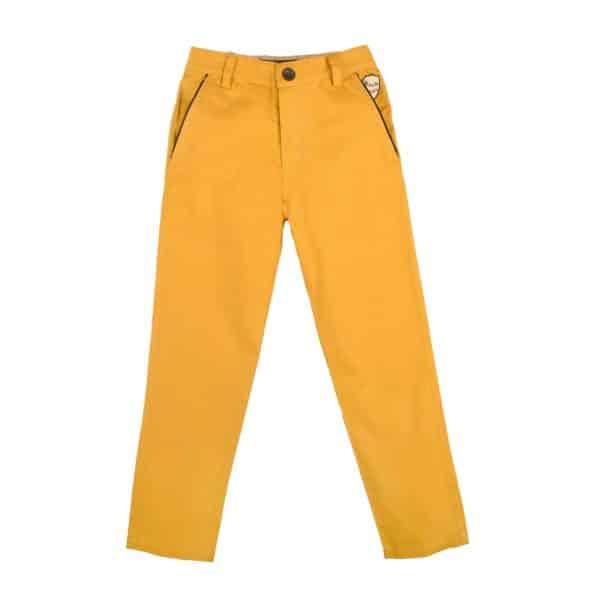 Pantalon chino en coton jaune, avec poche raglan bordée de satin noir et taille ajustable élastique, pour garçons de 2 à 12 ans. La Faute à Voltaire, marque créateur française pour enfants en commerce équitable.