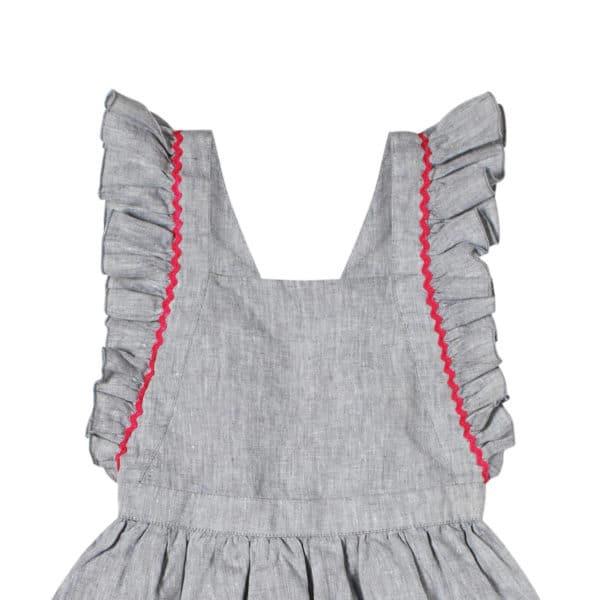 Robe tablier patineuse en coton gris avec taille froncée et manches à volants pour filles de 2 à 14 ans