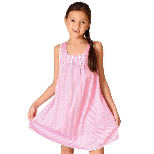 Robe trapèze été en coton rayé rose et blanc avec bretelles croisées pour filles de 2 à 14 ans