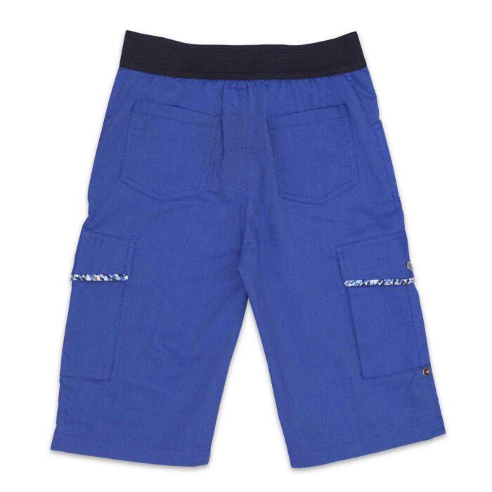 Bermuda forme cargo couleur bleu roi à taille élastique pour garçon de 2 à 12 ans de la marque vêtement enfant La Faute à Voltaire