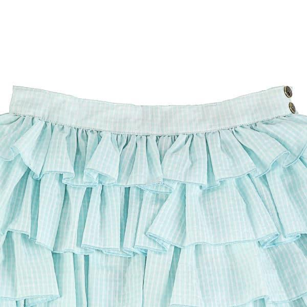 Jupe été à volant en coton à carreaux vichy vert et blanc pour filles de 2 à 14 ans
