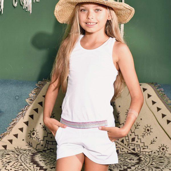 Short été en coton blanc avec ceinture à paillettes argentées et poches pour filles de 2 à 14 ans