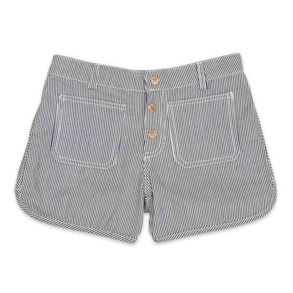 short court été fille en coton jean denim à fines rayures bleu marine et blanc pour petites filles de 2 à 12 ans