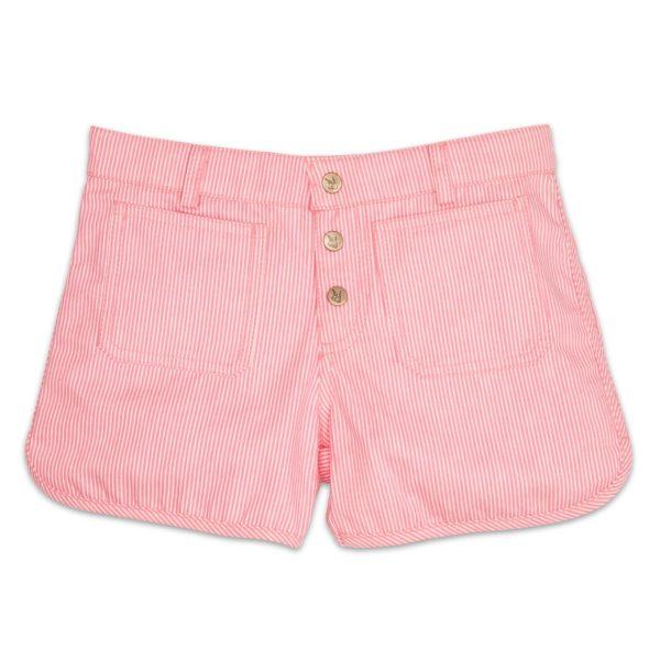 short en coton denim à fines rayures rose et beige, boutons pression et bords arrondis pour petites filles de 2 à 12 ans