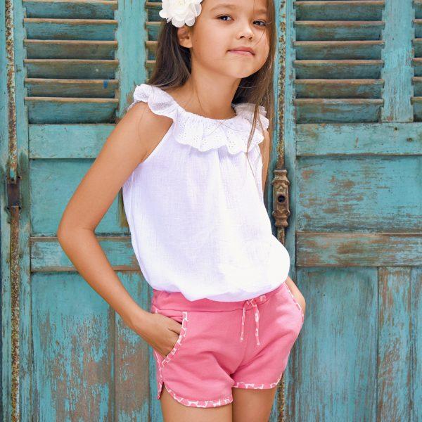 Short en coton rose avec taille élastique et poches pour filles de 2 à 12 ans