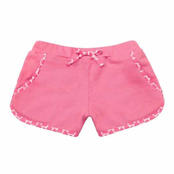 Short en coton éponge rose avec taille élastique et poches pour filles de 2 à 12 ans