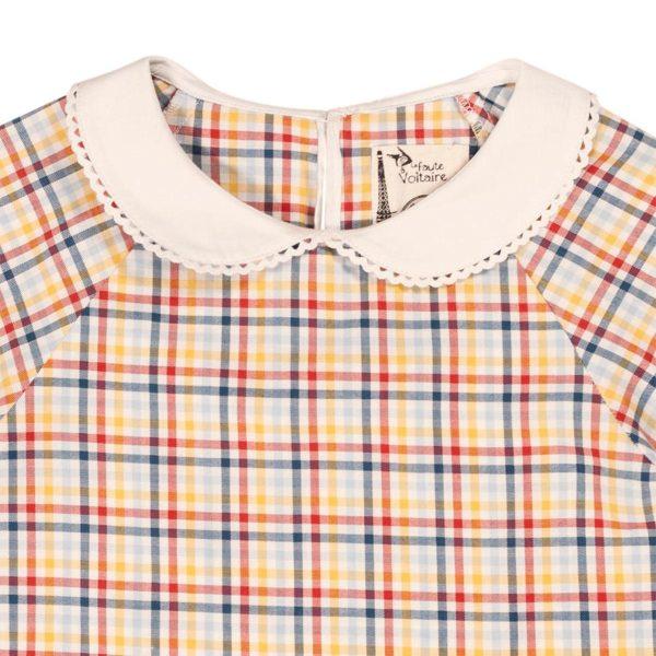 Blouse intersaison en coton à carreaux jaunes, rouges et bleus avec son beau col Claudine blanc pour filles de 2 à 12 ans