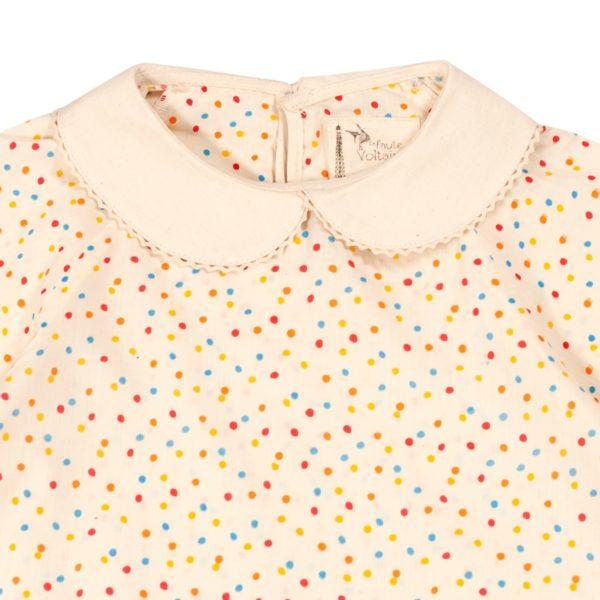 Blouse intersaison en coton beige à pois multicolores jaunes, rouges, roses, oranges et bleus avec son beau col Claudine blanc pour filles de 2 à 12 ans