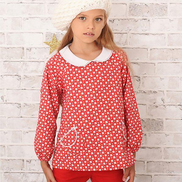 Blouse de Noël rouge imprimée fantaisie père Noël pour petites filles de 2 à 12 ans de la marque de mode enfant LA FAUTE A VOLTAIRE