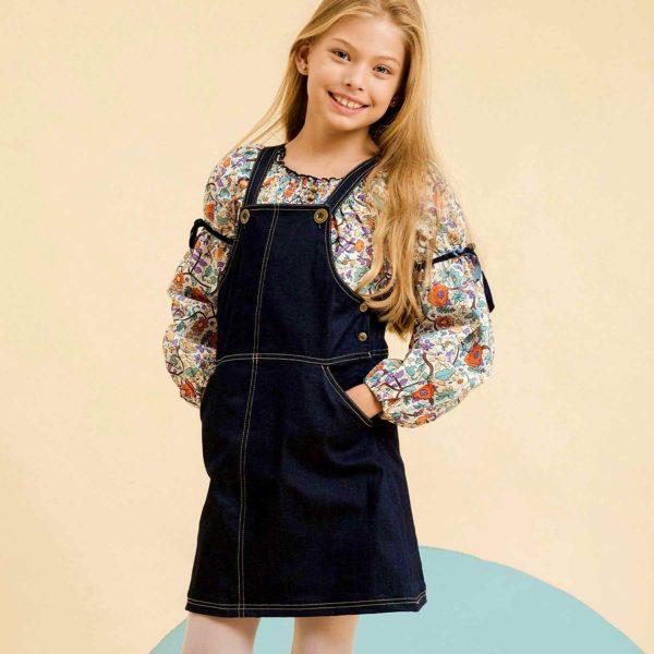 Robe en jean denim bleu foncé pour fille de la marque de mode créateur pour enfant en commerce équitable LA FAUTE A VOLTAIRE