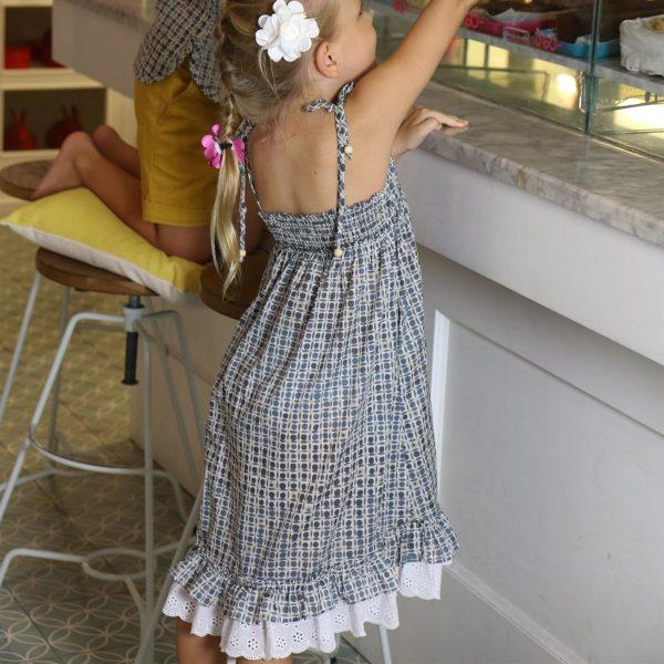 Robe d'été longue en coton imprimé bleu et beige avec bretelles, volants et col V à dentelle blanche pour filles de 2 à 14 ans