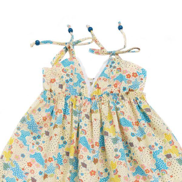 Robe d'été longue en coton fleuri jaune et bleu avec bretelles, volants et col V à dentelle blanche pour filles de 2 à 14 ans