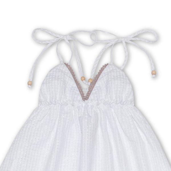 Robe d'été longue en coton blanc avec bretelles, volants et col V à dentelle beige pour filles de 2 à 14 ans