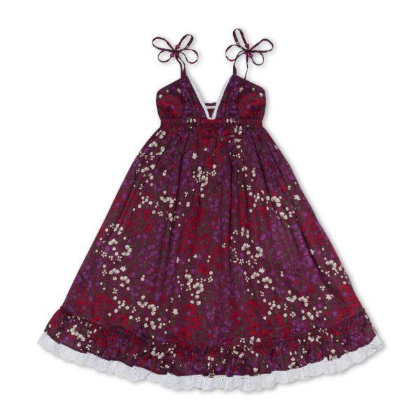 Robe d'été longue en coton fleuri bordeaux avec bretelles, volants et col V à dentelle blanche pour filles de 2 à 14 ans