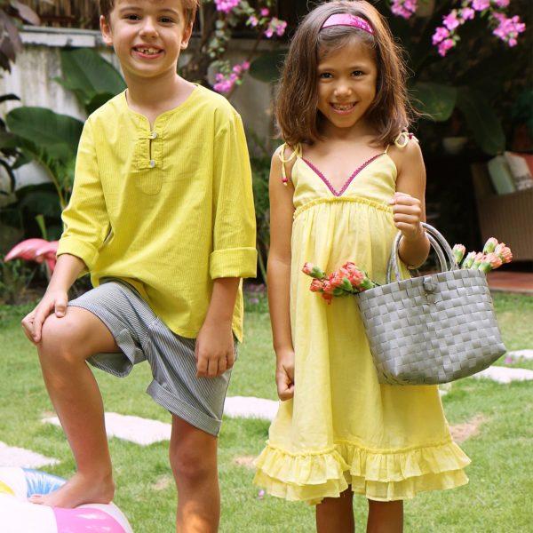 Robe d'été longue en coton jaune avec bretelles et à volants pour filles de 2 à 14 ans