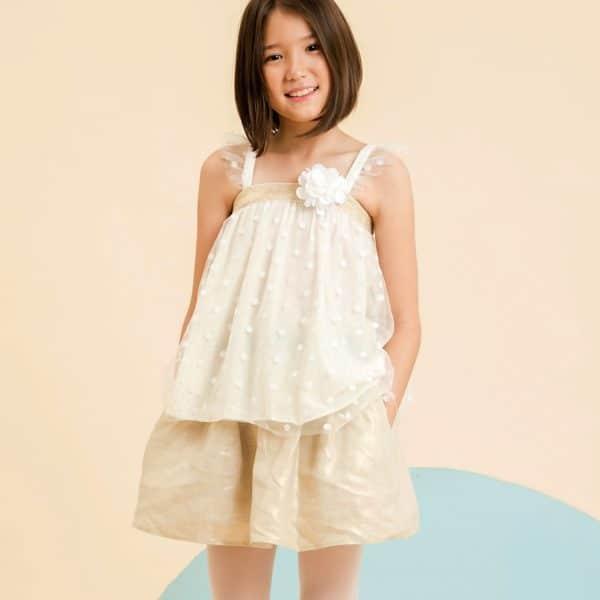 jupe de cérémonie en lin beige mordoré pour petite fille, taille élastique surligné de satin contrasté noir, de la marque de mode pour enfant LA FAUTE A VOLTAIRE