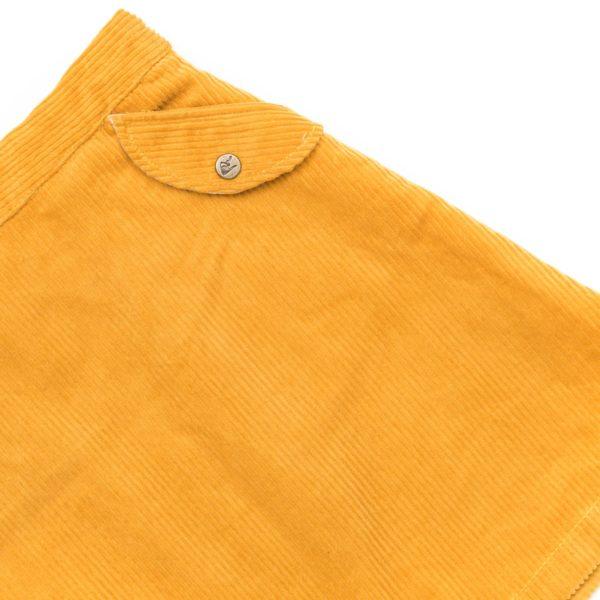jupe en velours jaune pour petite fille, coupe trapèze au-dessus du genou, taille réglable, fermeture éclair sur le côté avec bouton pression, de la marque de mode pour enfant LA FAUTE A VOLTAIRE