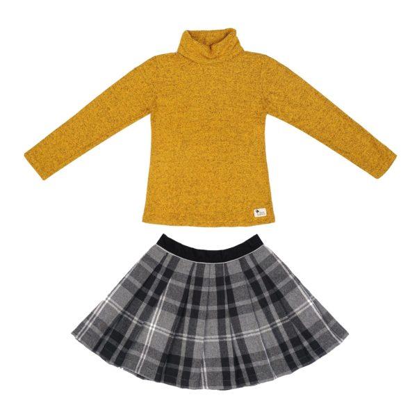 Set cadeau pour filles de 2 à 14 ans avec jupe écossaise à carreaux tartans gris et sous-pull col roulé en coton chiné jaune moutarde. De la marque créateur française en commerce équitable LA FAUTE A VOLTAIRE