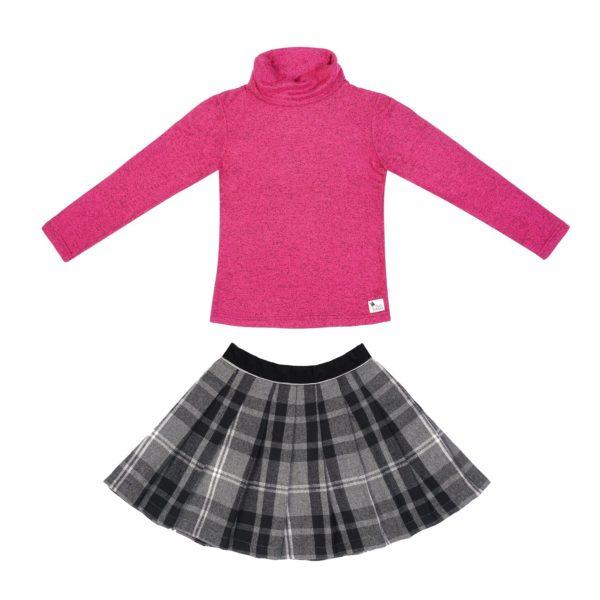 Set cadeau pour filles de 2 à 14 ans avec jupe écossaise à carreaux tartans gris et sous-pull col roulé en coton chiné fuchsia. De la marque créateur française en commerce équitable LA FAUTE A VOLTAIRE