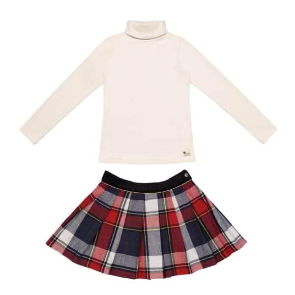 Set cadeau pour filles de 2 à 14 ans avec jupe écossaise à carreaux tartans rouges et bleus avec sous-pull col roulé en coton jersey beige. De la marque créateur française en commerce équitable LA FAUTE A VOLTAIRE