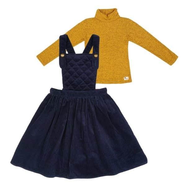 Set cadeau pour filles de 2 à 14 ans avec robe salopette matelassée en velours bleu marine et sous pull col roulé en coton chiné jaune moutarde. De la marque créateur française en commerce équitable LA FAUTE A VOLTAIRE