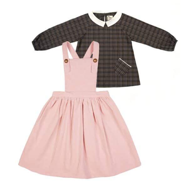 Set cadeau pour filles de 2 à 14 ans avec robe salopette en velours rose et blouse col Claudine en tartan gris