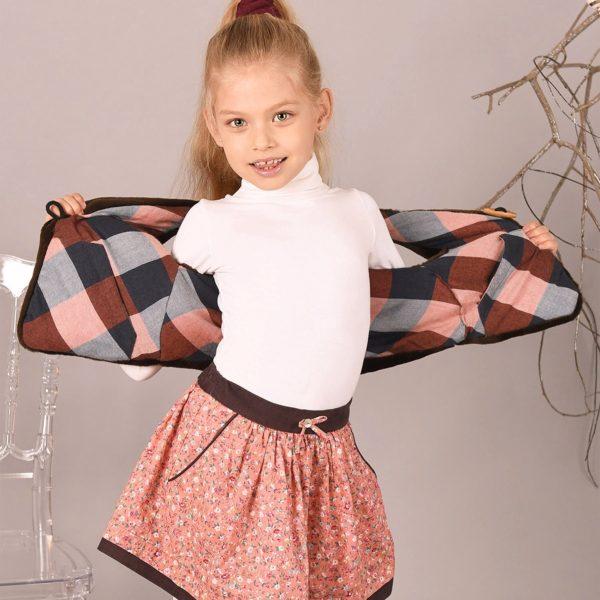 Gilet de berger sans manches en imitation fourrure marron et doublure en coton à carreaux avec bouton en bois pour filles de 2 à 12 ans